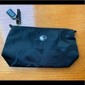 Coach black fabric cosmetic zip pouch